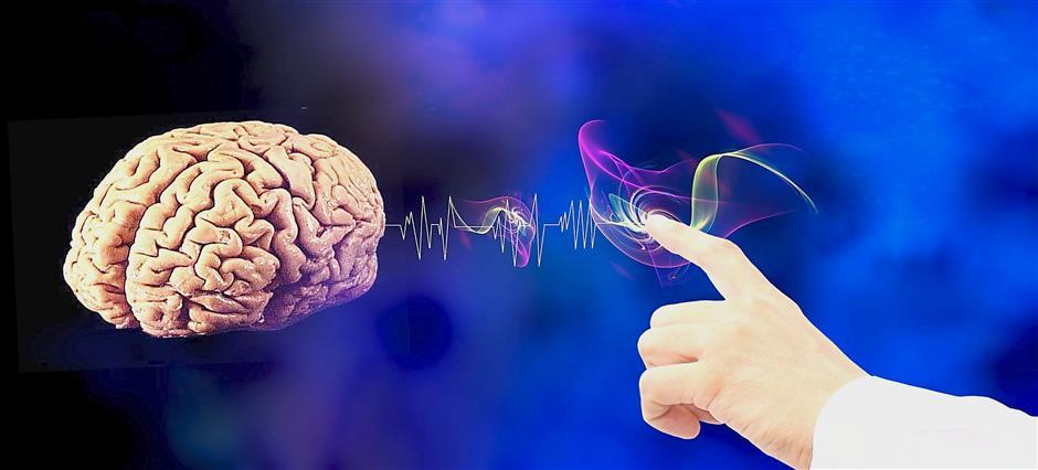 doigt pointé vers un cerveau